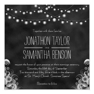 ライト黒い黒板の結婚式の招待の一連 カード