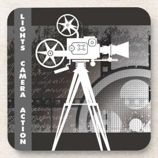 ライト、カメラ、アクション映画のテーマのプラスチックコースター コースター