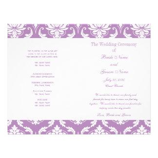 ライト|紫色|ヴィンテージ|ダマスク織|結婚|プログラム パーソナライズチラシ広告
