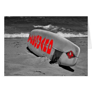 ライフガードのサーフボードのビーチの海の海のライフセーバー カード