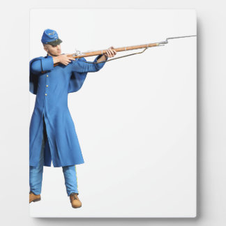 ライフルとの左に向けている連合兵士 フォトプラーク