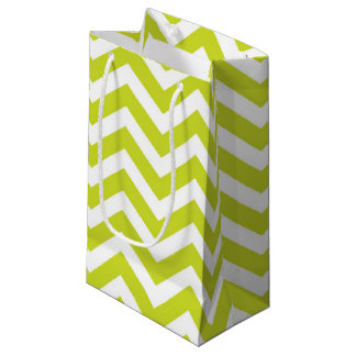 ライムおよびシェブロンの白いデザイン スモールペーパーバッグ