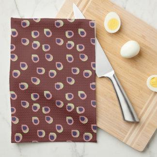 ライムおよび紫色の雨滴の台所タオル キッチンタオル