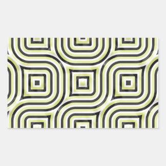 ライムおよび黒の3Dパターン 長方形シール