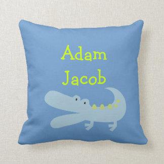 ライムのわに名前入りな枕 クッション