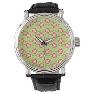 ライムのシンプルなレトロの花パターンピンクの花 腕時計
