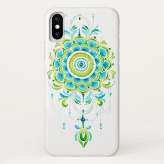 ライムのティール(緑がかった色)の水彩画の曼荼羅のpendent電話箱 iPhone x ケース