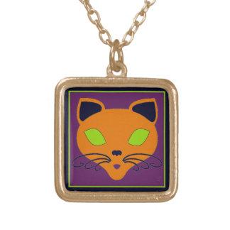 ライムのハロウィンレトロのオレンジ猫 ゴールドプレートネックレス