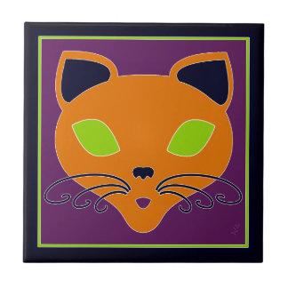 ライムのハロウィンレトロのオレンジ猫 タイル