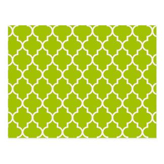 ライムのモロッコのクローバーパターン ポストカード