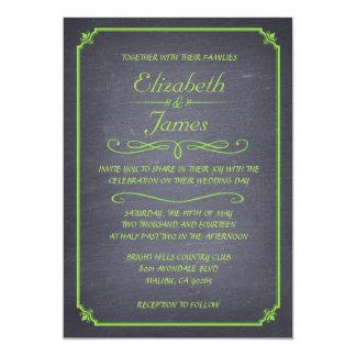 ライムのヴィンテージの黒板の結婚式招待状 12.7 X 17.8 インビテーションカード