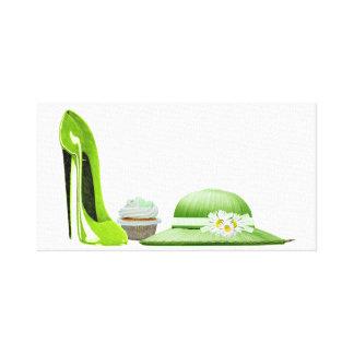 ライムの小剣、カップケーキおよび帽子のキャンバスのプリント キャンバスプリント