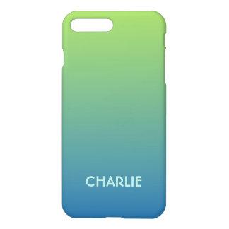 ライムの青い勾配のカスタムなモノグラムの電話箱 iPhone 8 PLUS/7 PLUSケース