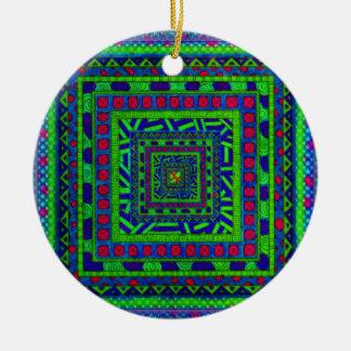 ライムの青緑の赤くアステカな種族の正方形パターン セラミックオーナメント