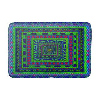 ライムの青緑の赤くアステカな種族の正方形パターン バスマット