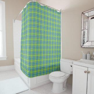 ライムグリーンおよびターコイズの格子縞 シャワーカーテン
