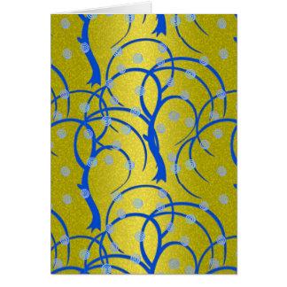ライムグリーンおよび曲線の青い木 カード