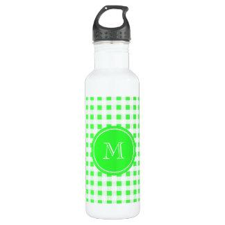 ライムグリーンおよび白のギンガム、あなたのモノグラム ウォーターボトル