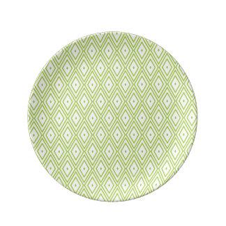 ライムグリーンおよび白のダイヤモンド 磁器プレート