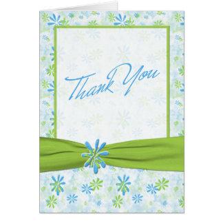 ライムグリーンおよび青の花柄のサンキューカード カード