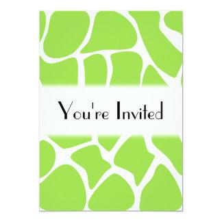 ライムグリーンのキリンのプリントパターン カード