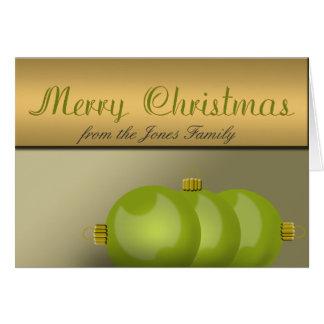 ライムグリーンのクリスマスオーナメント カード