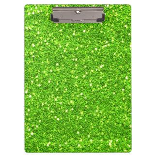 ライムグリーンのグリッターのクリップボード クリップボード