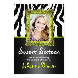ライムグリーンのシマウマ-写真-菓子16の招待状 カード