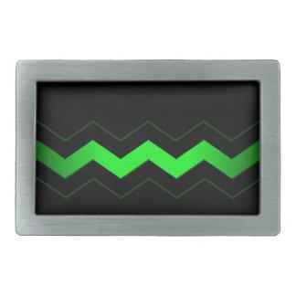 ライムグリーンのジグザグ形の鋭い黒 長方形ベルトバックル