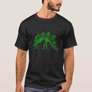 ライムグリーンのステゴサウルスの恐竜の骨組 Tシャツ
