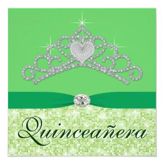 ライムグリーンのダイヤモンドのティアラの緑Quincenera カード