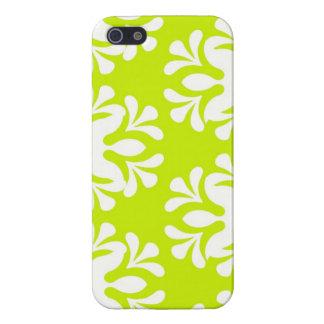 ライムグリーンのネオンダマスク織の花のガーリーなパターン iPhone 5 カバー