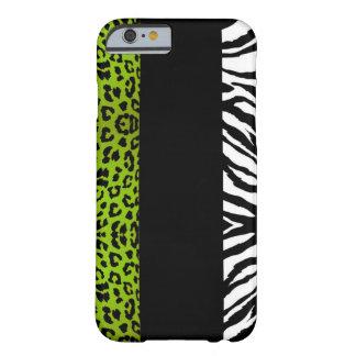 ライムグリーンのヒョウおよびシマウマの習慣動物 iPhone 6 ベアリーゼアケース