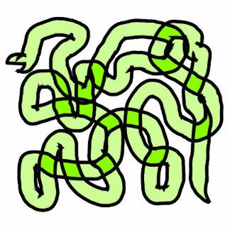 ライムグリーンのヘビ 写真彫刻バッジ