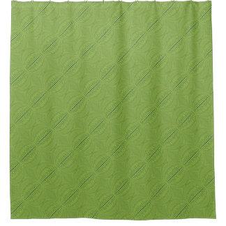 ライムグリーンの円ラインパターン シャワーカーテン