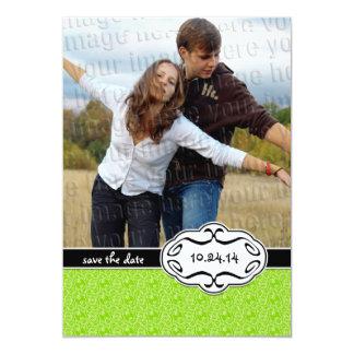 ライムグリーンの写真の保存日付 カード
