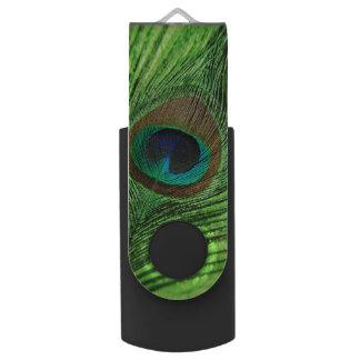 ライムグリーンの孔雀 USBフラッシュドライブ