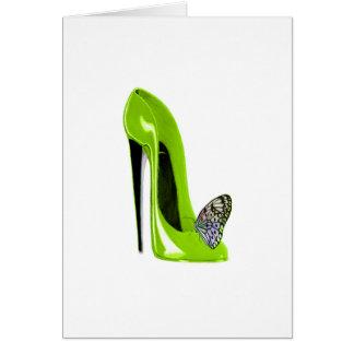 ライムグリーンの小剣の靴および蝶 カード