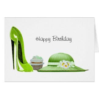 ライムグリーンの小剣の靴、カップケーキおよび帽子の芸術 カード