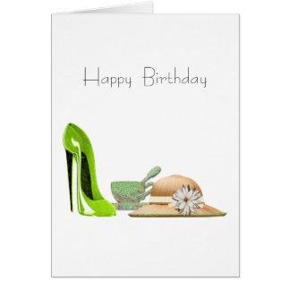 ライムグリーンの小剣の靴、ティーカップおよび帽子の芸術 カード