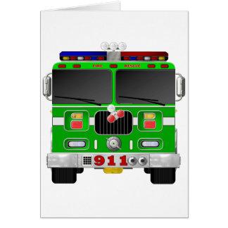 ライムグリーンの普通消防車 カード