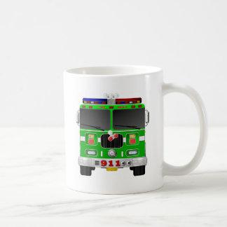 ライムグリーンの普通消防車 コーヒーマグカップ