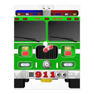ライムグリーンの普通消防車 レターヘッド