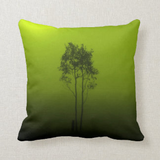 ライムグリーンの木の枕 クッション