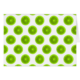 ライムグリーンの柑橘類の切れの水玉模様 カード