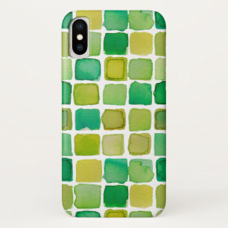 ライムグリーンの水彩画はiPhoneの場合を平方します iPhone X ケース