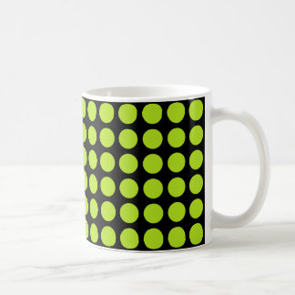 ライムグリーンの水玉模様の黒 コーヒーマグカップ