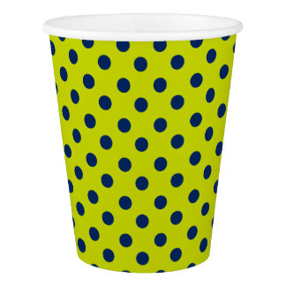 ライムグリーンの濃紺の水玉模様 紙コップ