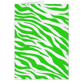 ライムグリーンの白いシマウマのストライプの野生のアニマルプリント カード