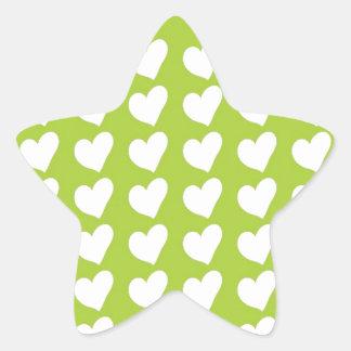 ライムグリーンの白い愛ハート 星シール